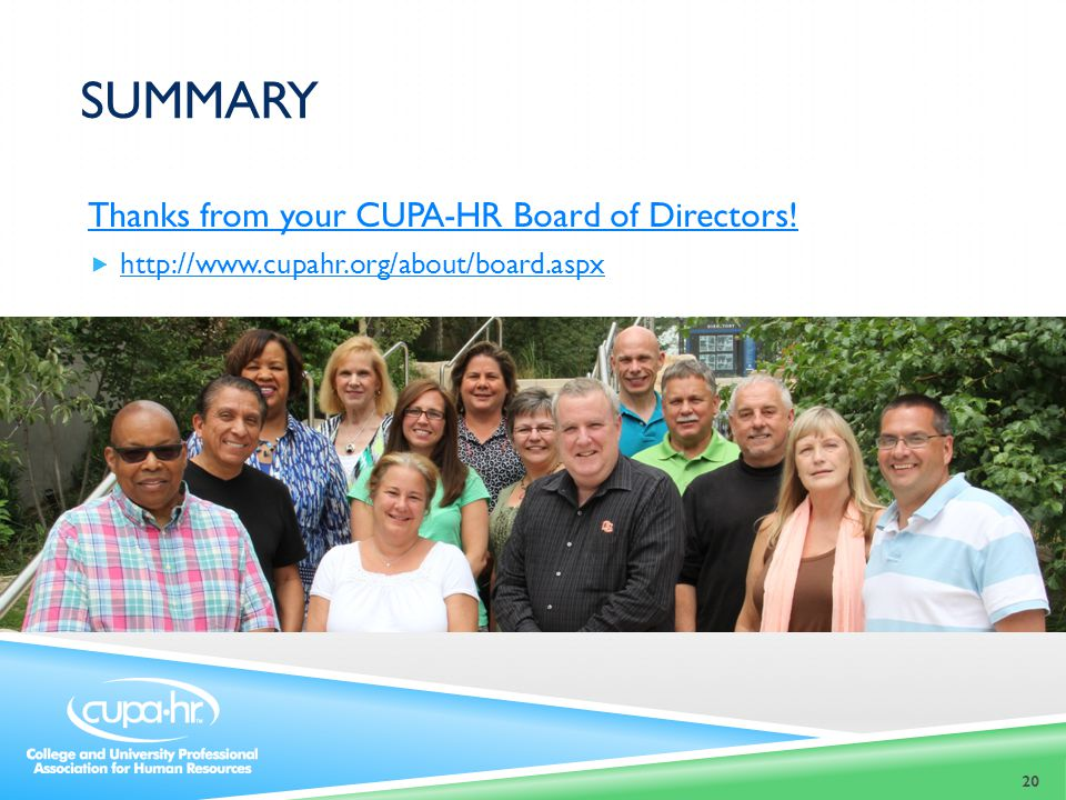 summary Thanks from your CUPA-HR Board of Directors!