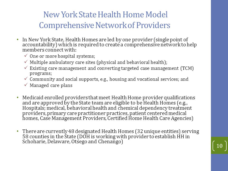 New York State Health Home Model Comprehensive Network of Providers