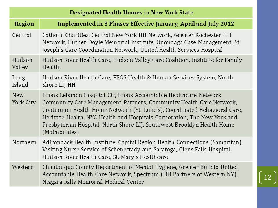 Designated Health Homes in New York State Region