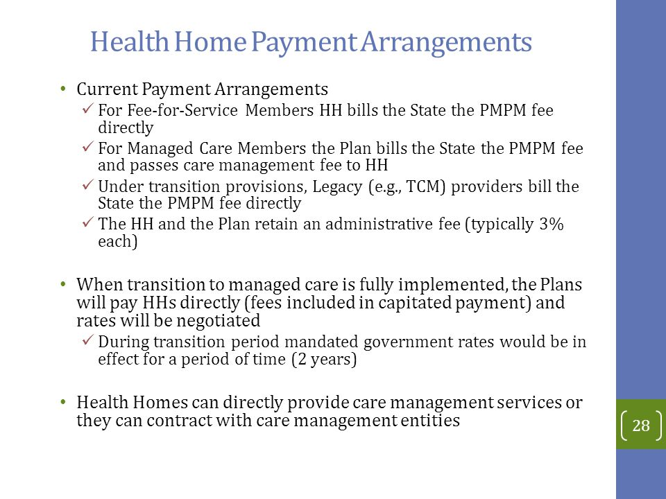 Health Home Payment Arrangements