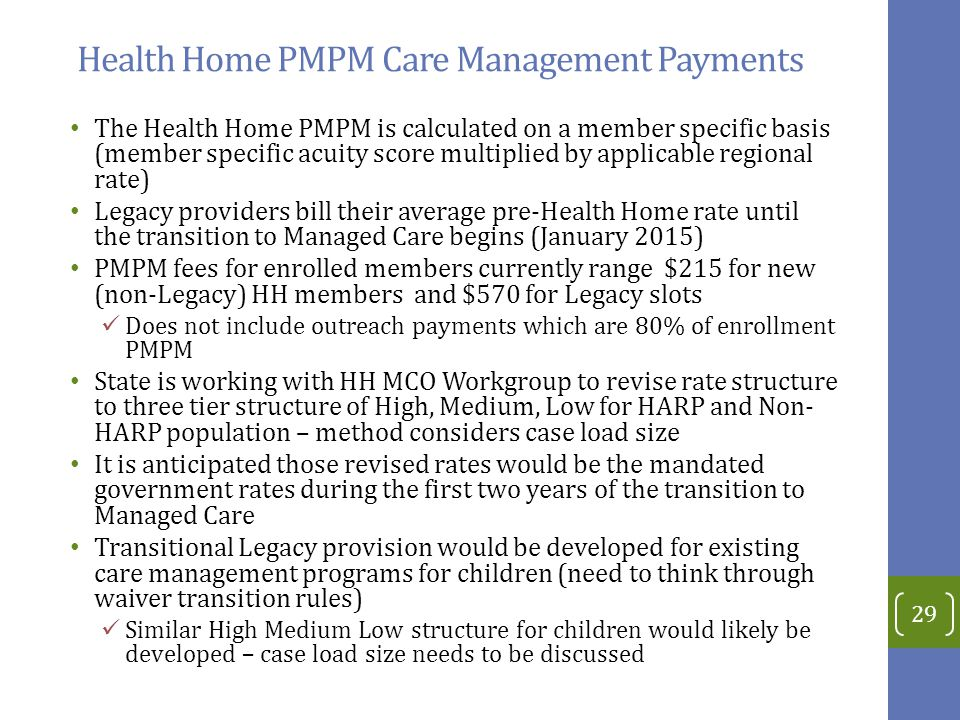 Health Home PMPM Care Management Payments