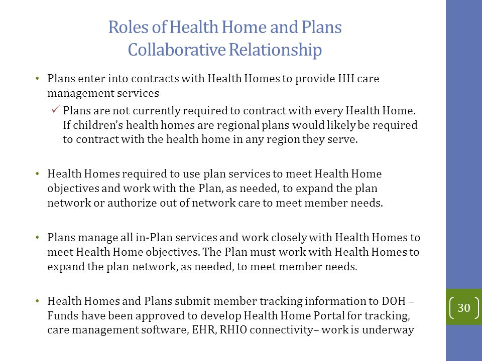Roles of Health Home and Plans Collaborative Relationship
