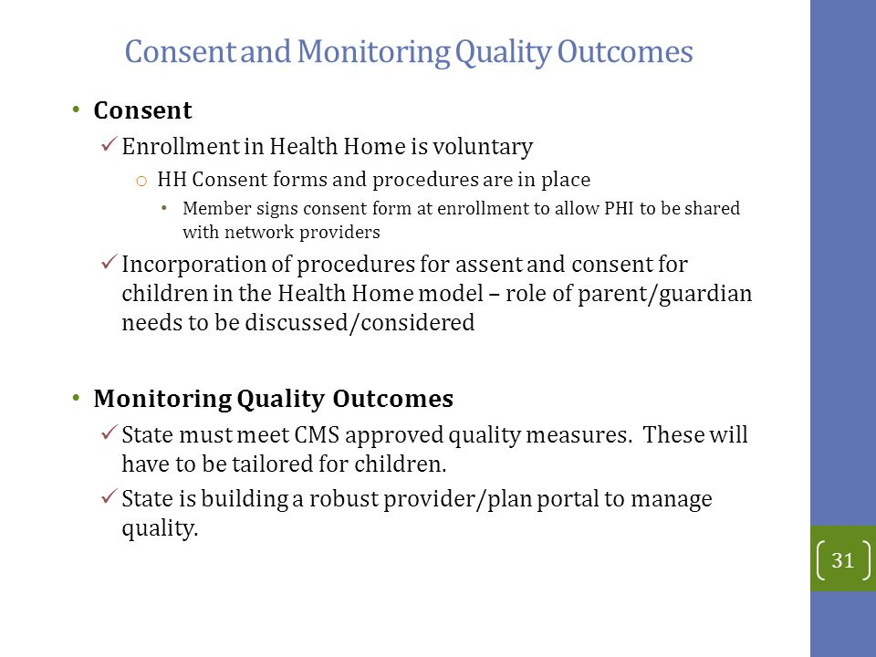 Consent and Monitoring Quality Outcomes