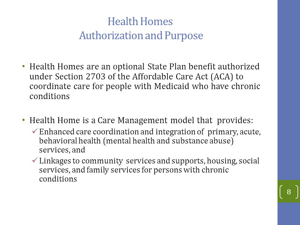 Health Homes Authorization and Purpose