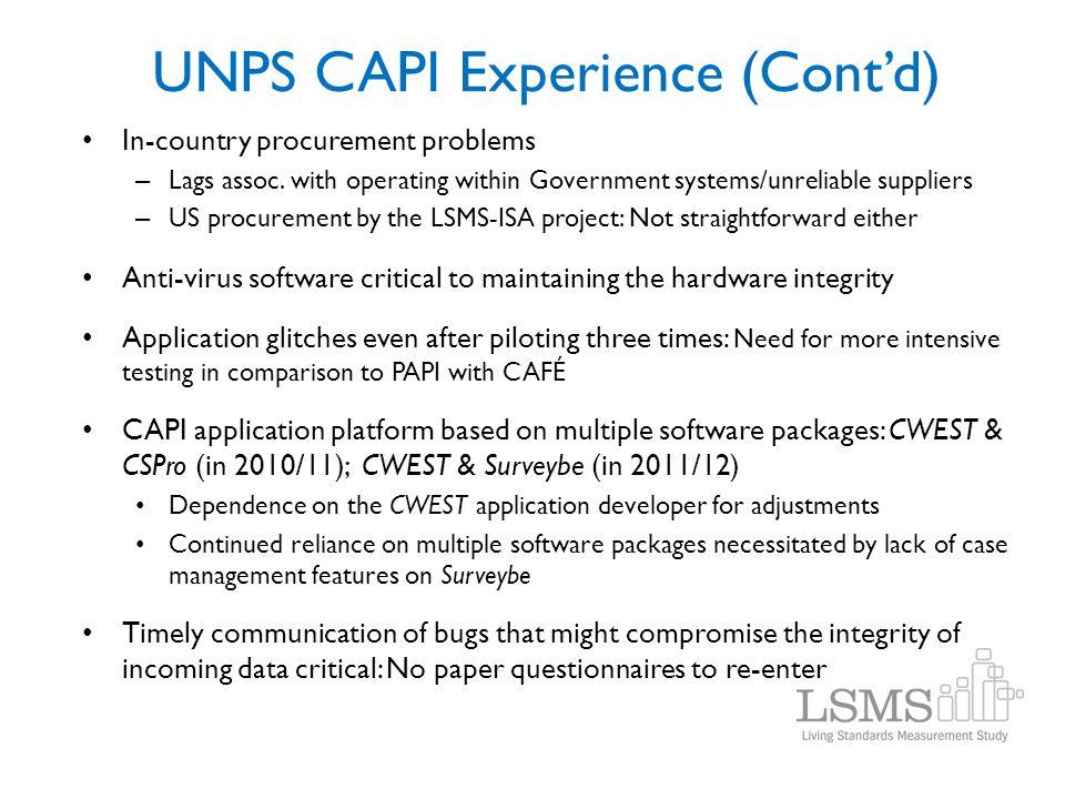 UNPS CAPI Experience (Cont'd)