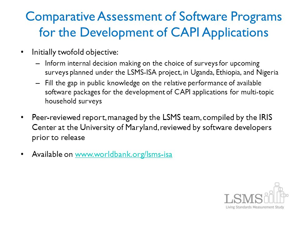 Comparative Assessment of Software Programs for the Development of CAPI Applications