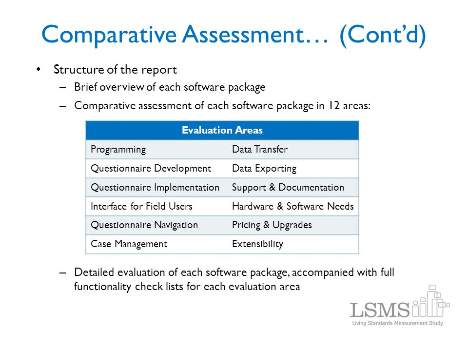 Comparative Assessment… (Cont'd)
