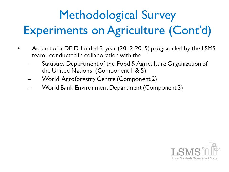 Methodological Survey Experiments on Agriculture (Cont'd)