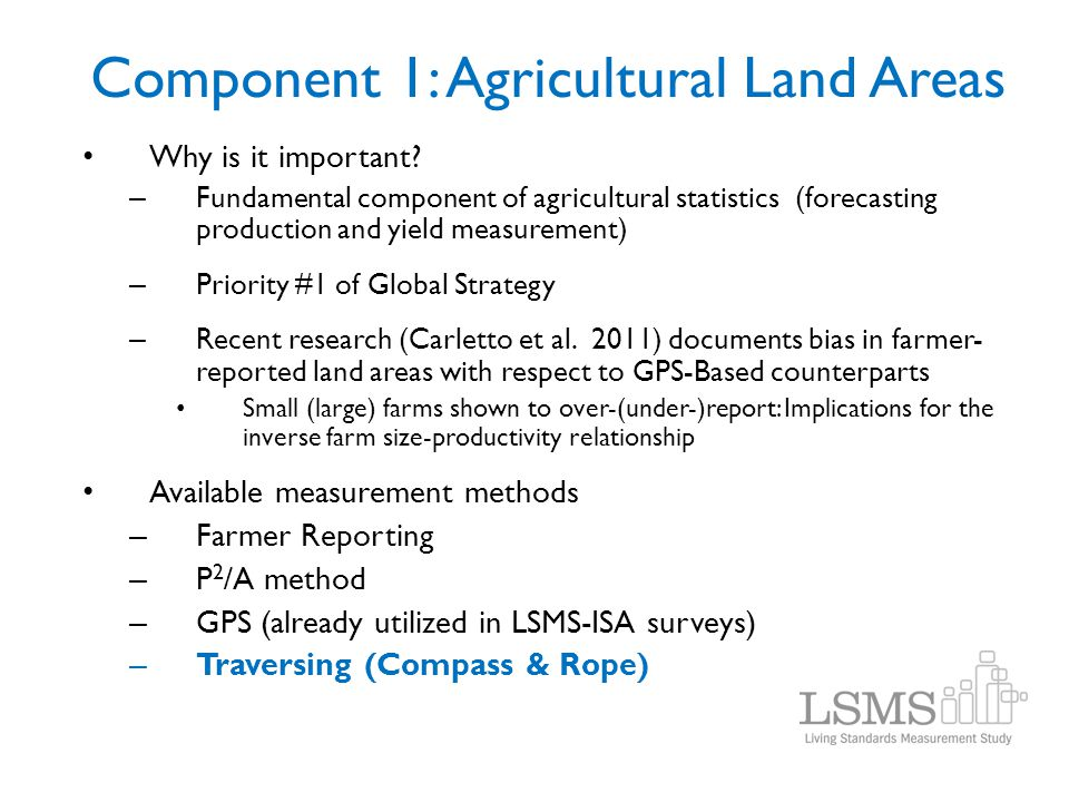 Component 1: Agricultural Land Areas