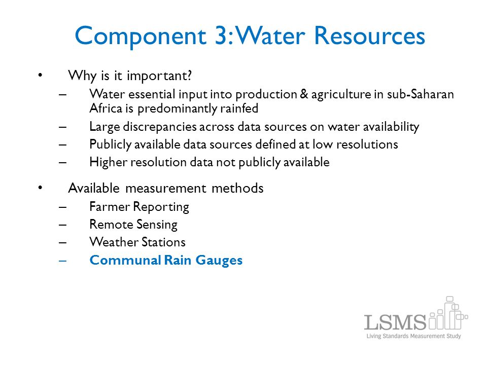 Component 3: Water Resources