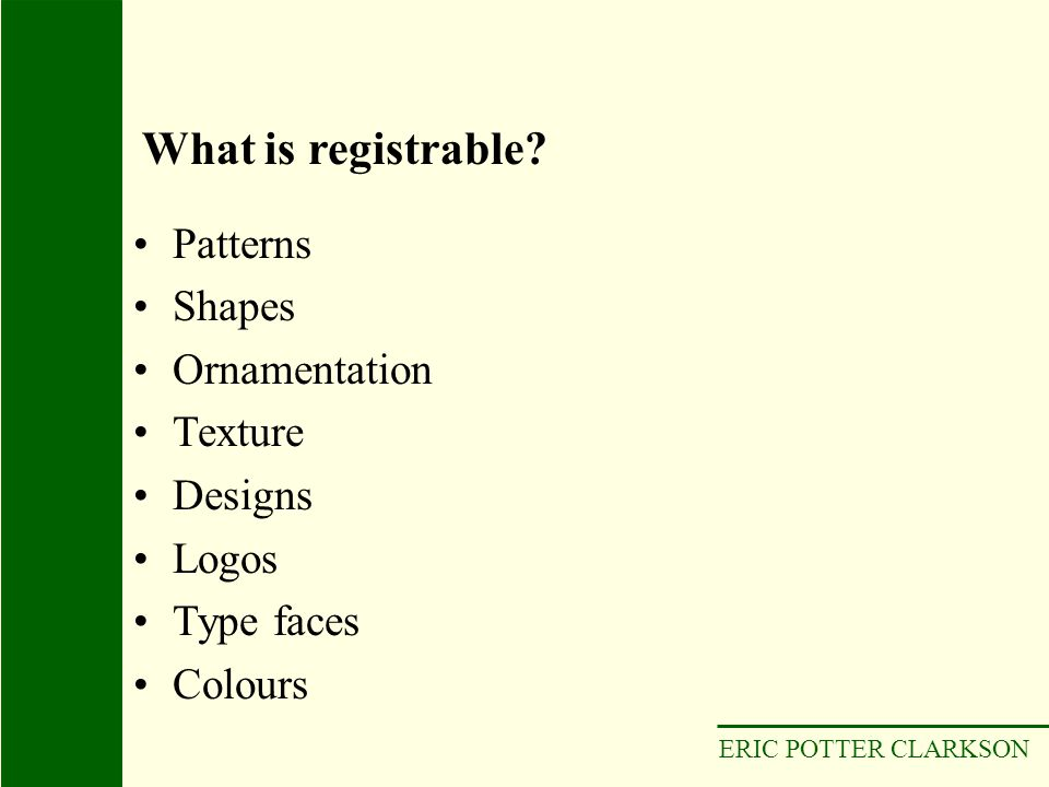 What is registrable Patterns Shapes Ornamentation Texture Designs
