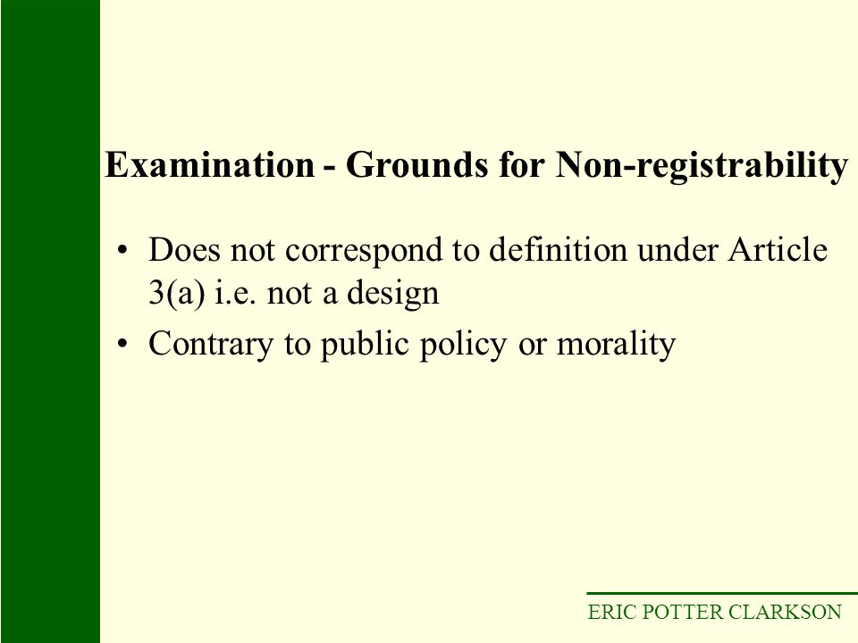 Examination - Grounds for Non-registrability