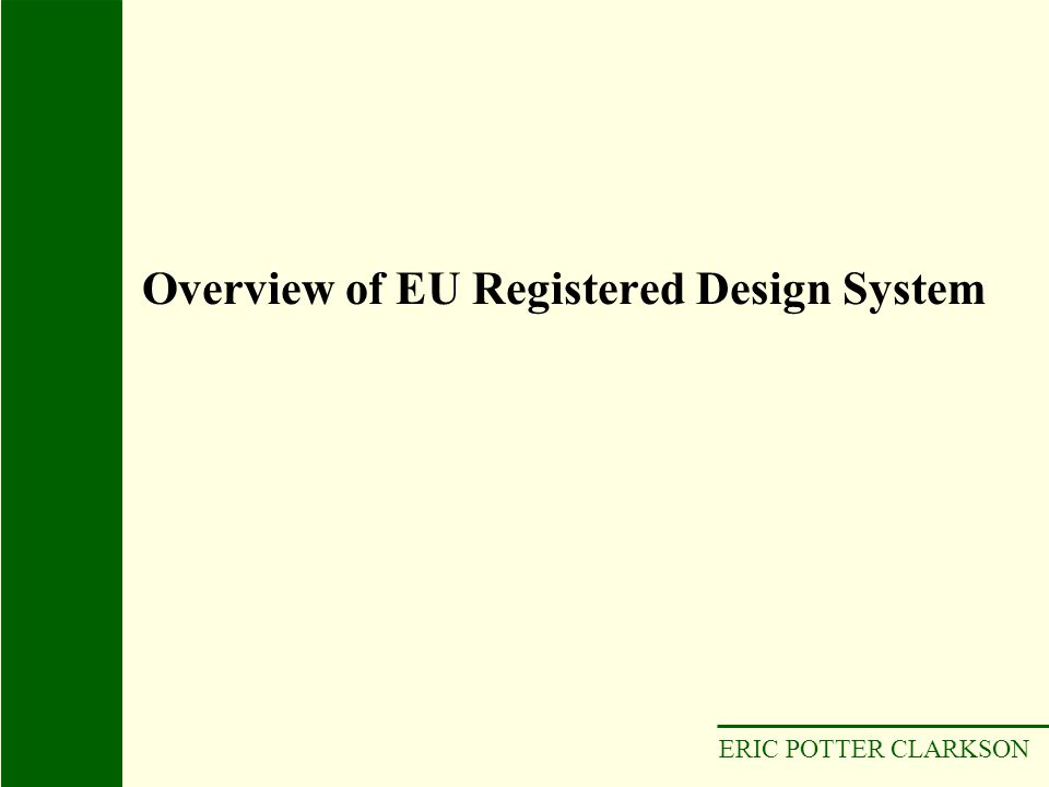 Overview of EU Registered Design System