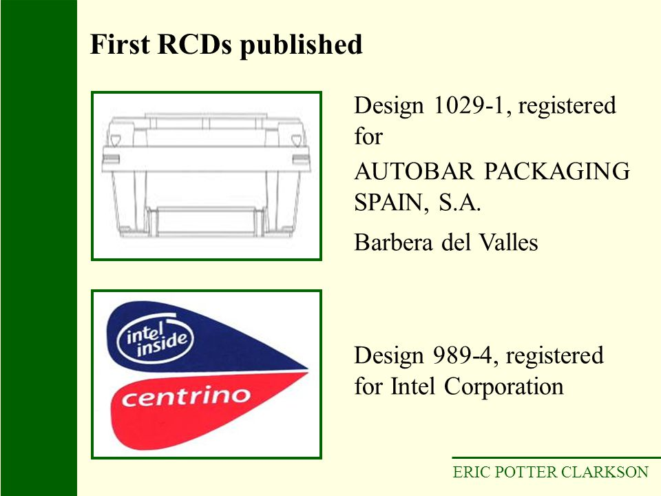 First RCDs published Design 1029-1, registered for