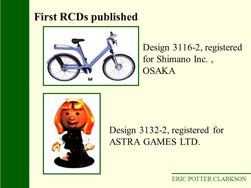 First RCDs published Design 3116-2, registered for Shimano Inc. , OSAKA. Design 3132-2, registered for ASTRA GAMES LTD.