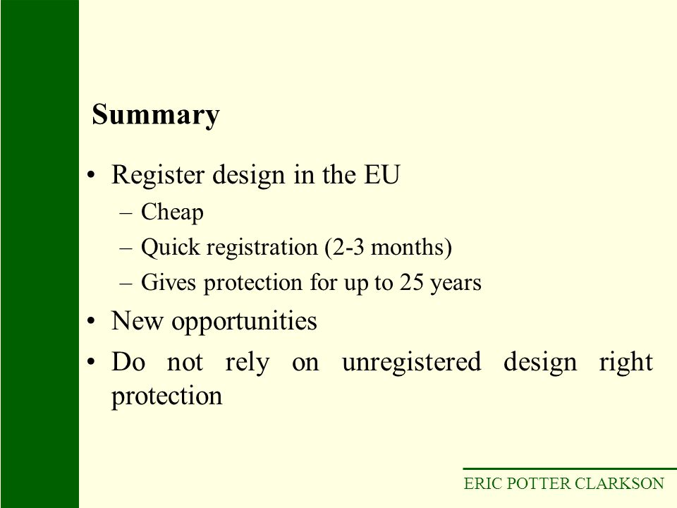 Summary Register design in the EU New opportunities