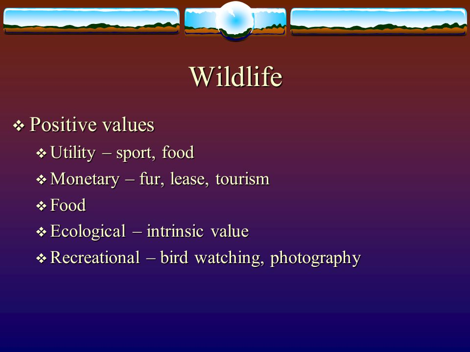 Wildlife Positive values Utility – sport, food