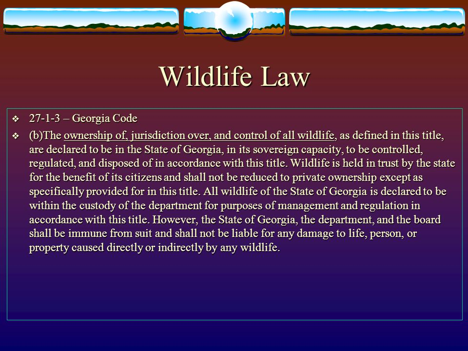 Wildlife Law 27-1-3 – Georgia Code