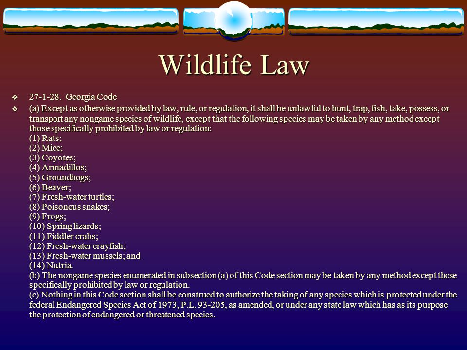 Wildlife Law 27-1-28. Georgia Code