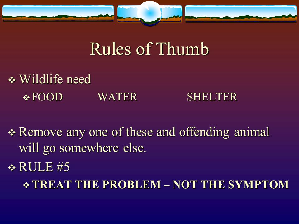 Rules of Thumb Wildlife need