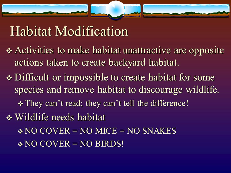 Habitat Modification Activities to make habitat unattractive are opposite actions taken to create backyard habitat.