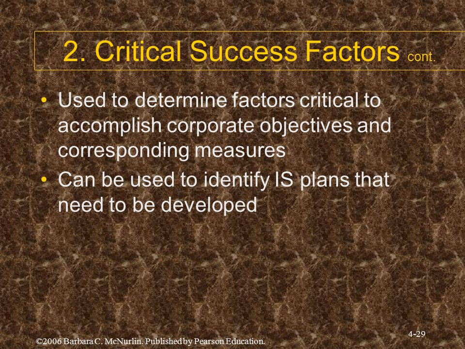 2. Critical Success Factors cont.