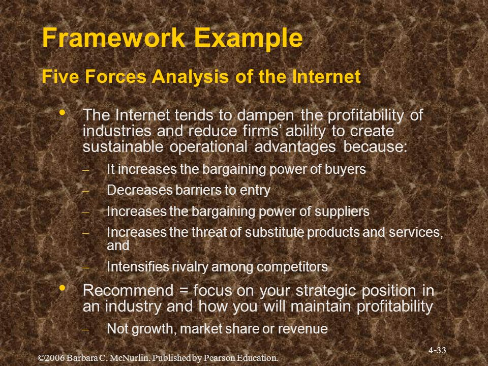 Framework Example Five Forces Analysis of the Internet