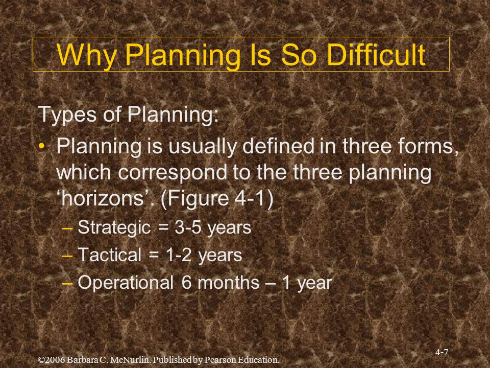 Why Planning Is So Difficult