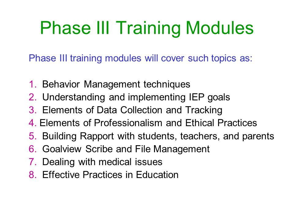 Phase III Training Modules