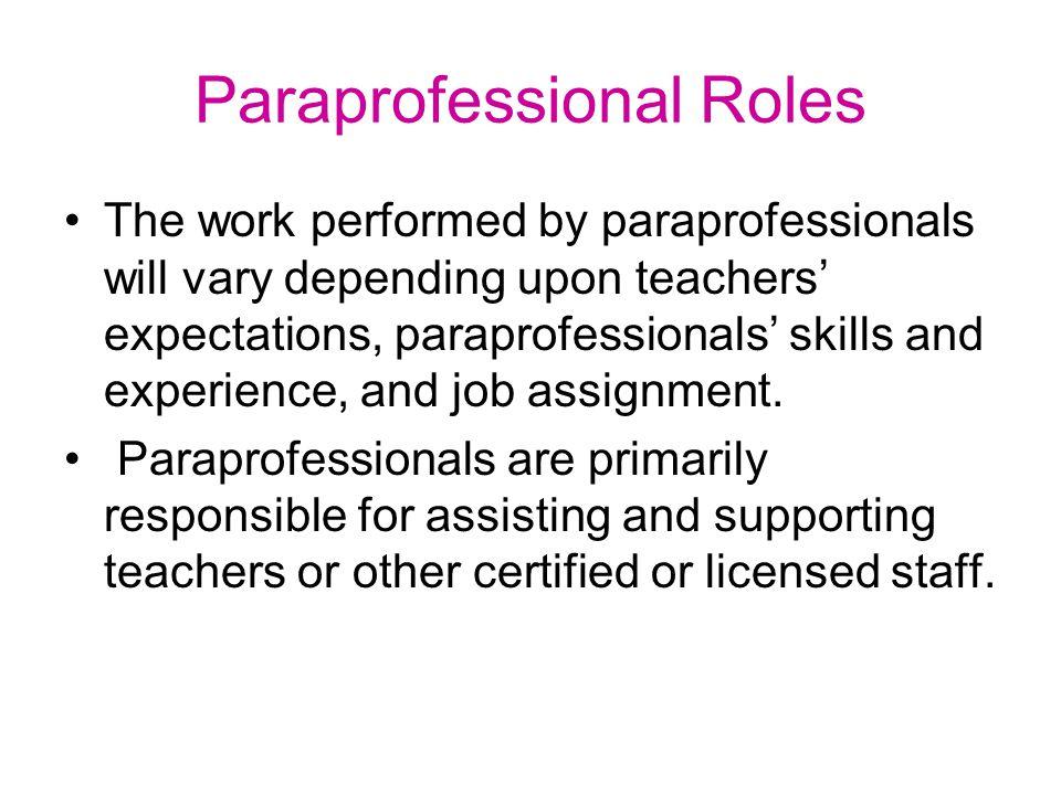 Paraprofessional Roles