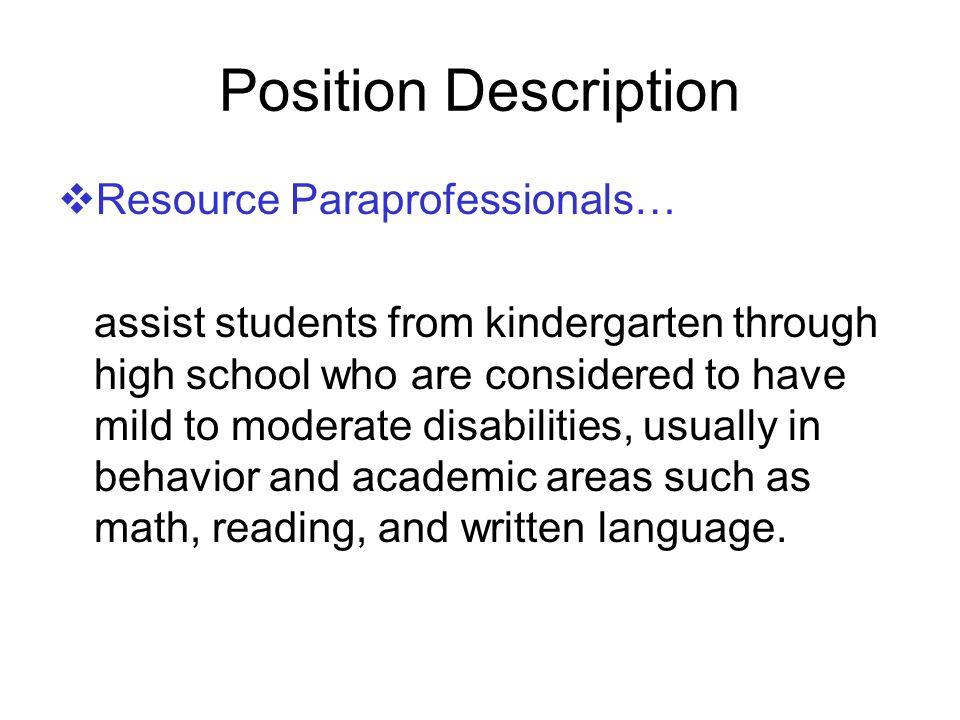 Position Description Resource Paraprofessionals…