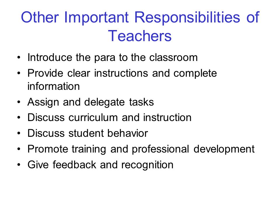 Other Important Responsibilities of Teachers
