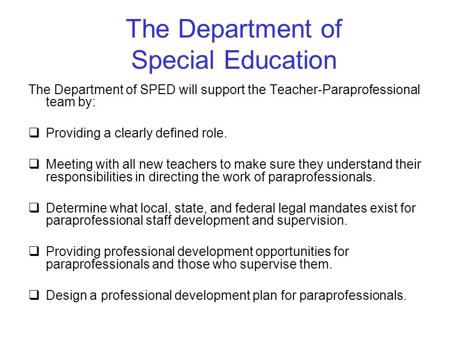 The Department of Special Education