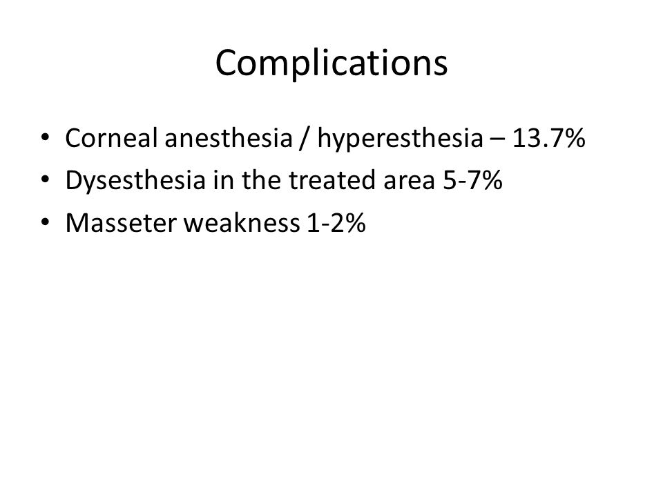 Complications Corneal anesthesia / hyperesthesia – 13.7%
