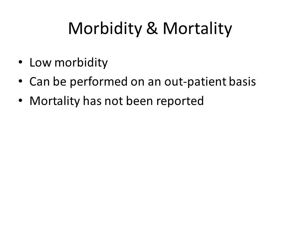 Morbidity & Mortality Low morbidity