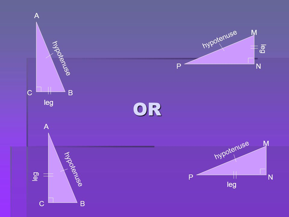 OR A M hypotenuse leg hypotenuse P N C B leg A M hypotenuse leg