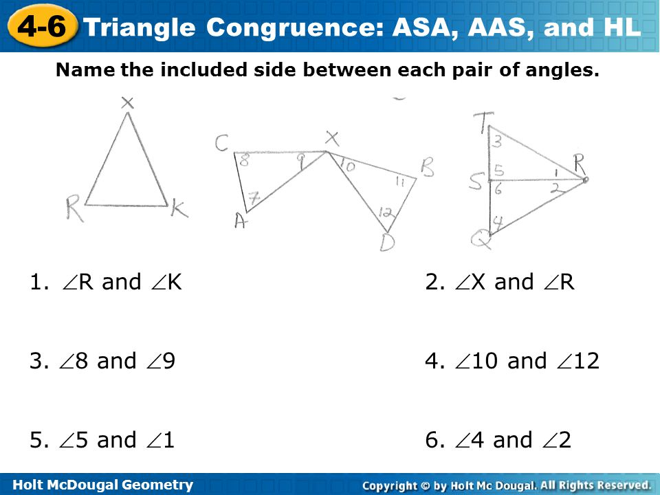 Name the included side between each pair of angles.