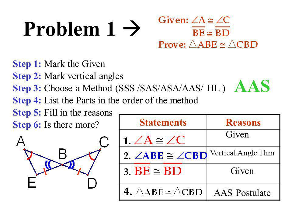 Problem 1  AAS Statements Reasons Step 1: Mark the Given