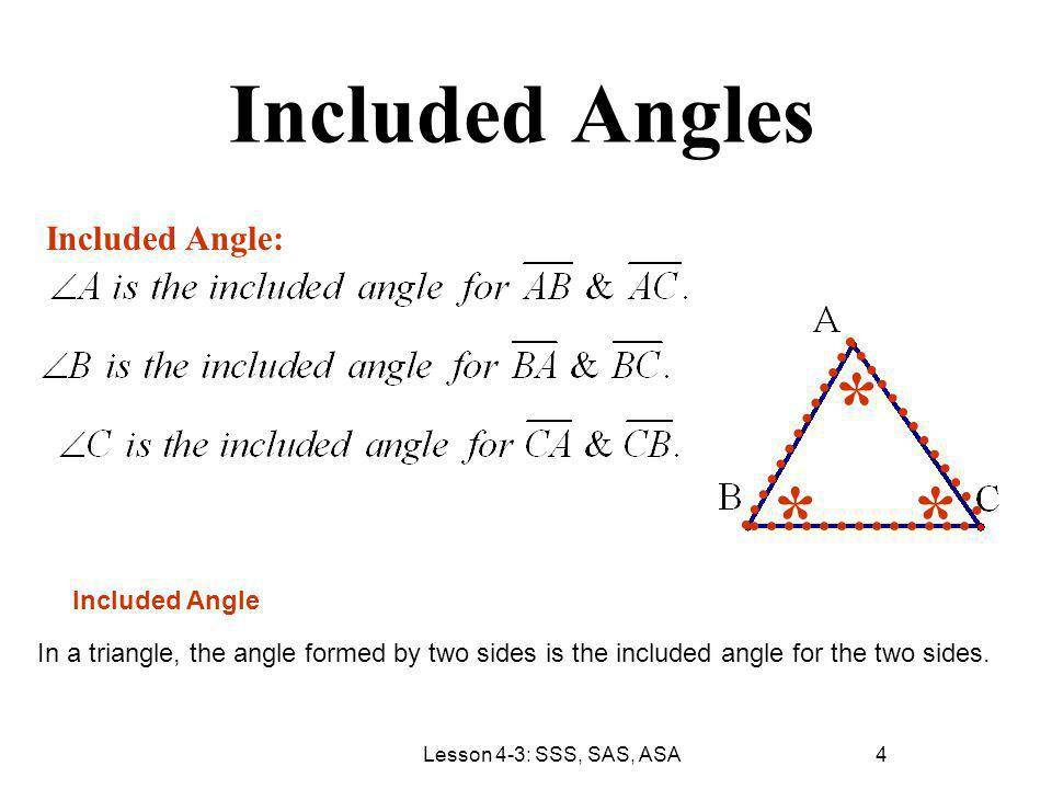 * * * Included Angles Included Angle: Included Angle