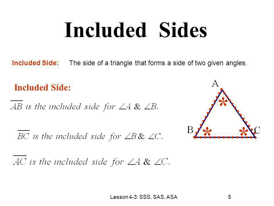 * * * Included Sides Included Side: Included Side: