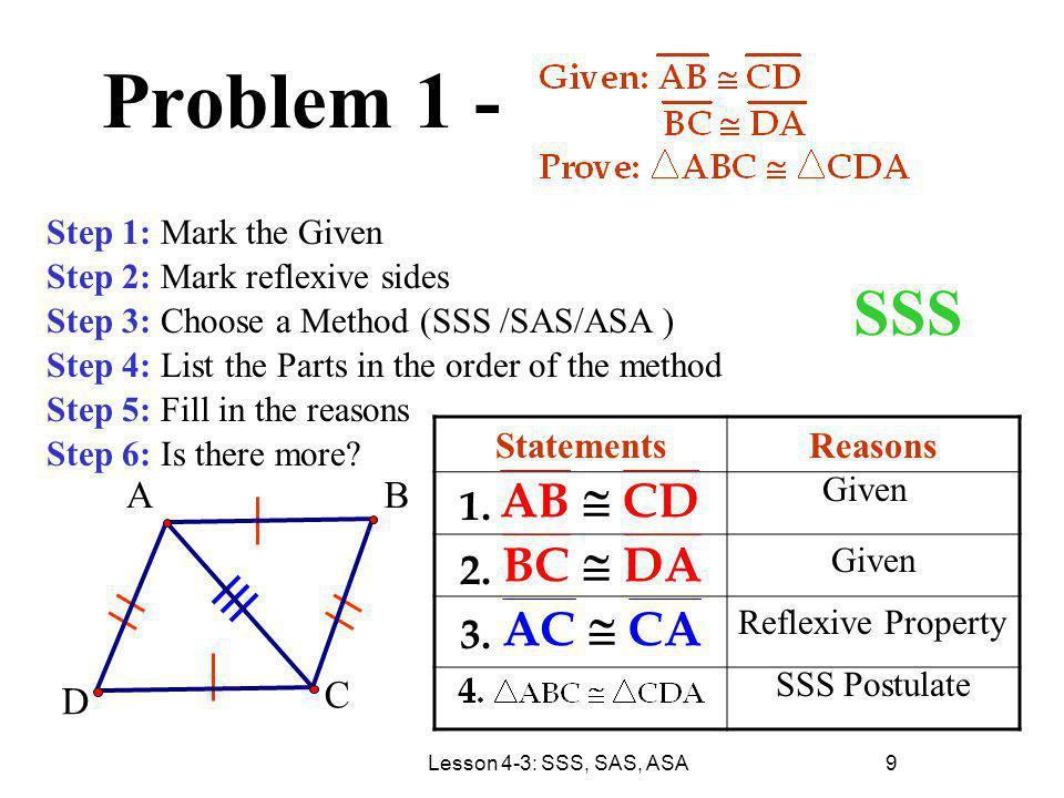 Problem 1 - SSS AB @ CD BC DA AC CA 1. 2. 3. A B D C Statements