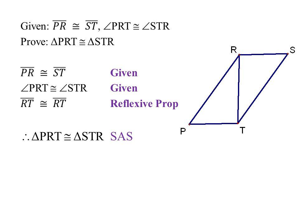 ΔPRT  ΔSTR SAS Given: 𝑃𝑅 ≅ 𝑆𝑇 , PRT  STR Prove: ΔPRT  ΔSTR