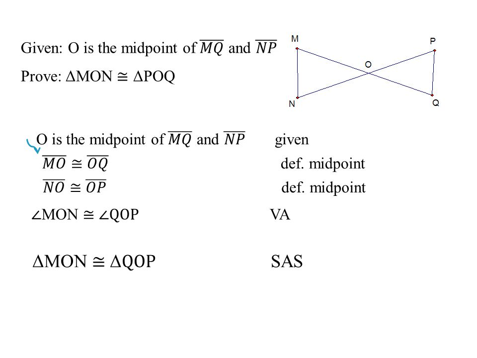ΔMON ≅ ΔQOP SAS Given: O is the midpoint of 𝑀𝑄 and 𝑁𝑃