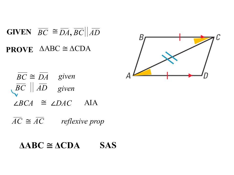 ΔABC ≅ ΔCDA SAS GIVEN ≅ BC DA, BC AD PROVE ΔABC ≅ ΔCDA BC DA ≅ given