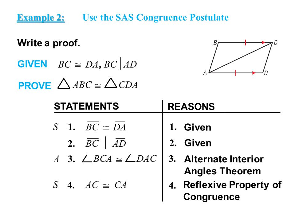 EXAMPLE 2 Example 2: Use the SAS Congruence Postulate. Write a proof. GIVEN. BC DA, BC AD.