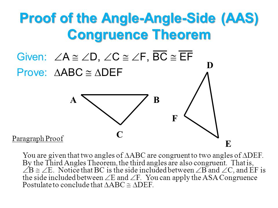 Proof of the Angle-Angle-Side (AAS) Congruence Theorem