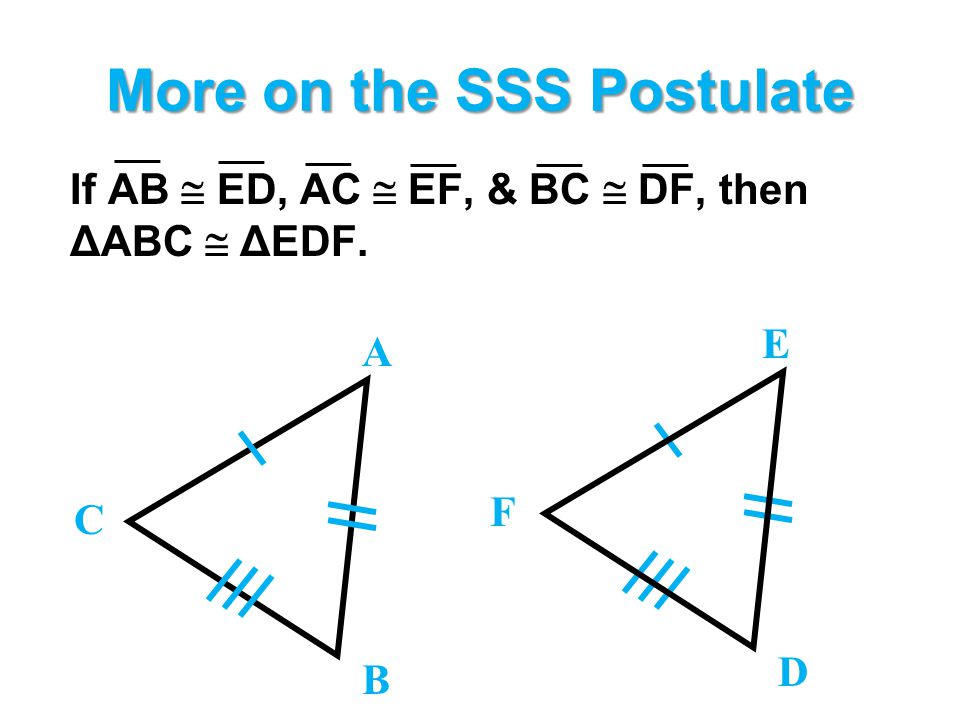 More on the SSS Postulate