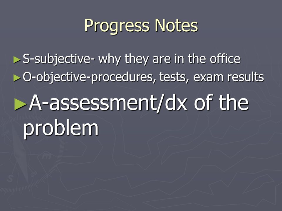 A-assessment/dx of the problem
