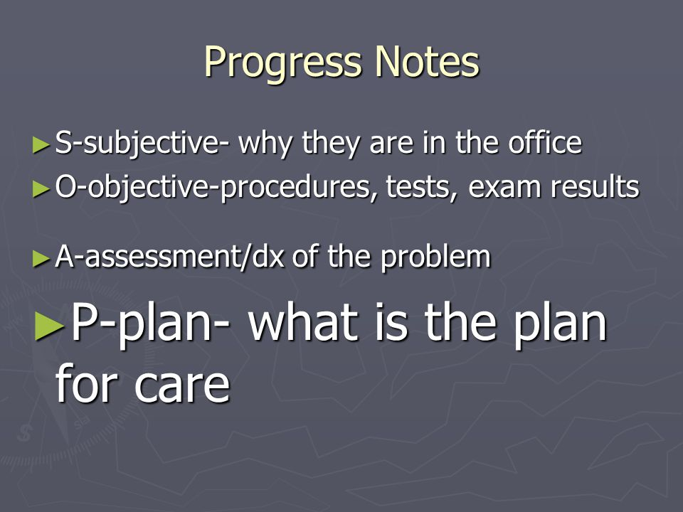 P-plan- what is the plan for care