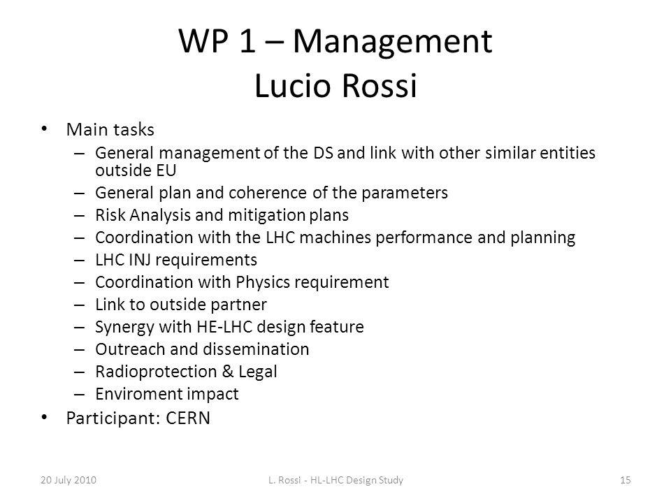 WP 1 – Management Lucio Rossi